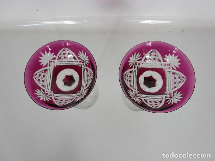 Antigüedades: Preciosa Pareja de Copas - Copa de Cristal Tallado - Bohemia - Foto 3 - 197510542