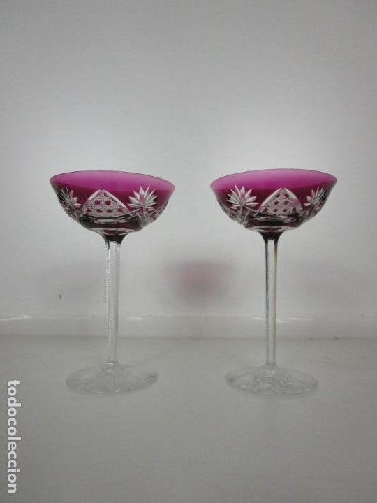 Antigüedades: Preciosa Pareja de Copas - Copa de Cristal Tallado - Bohemia - Foto 4 - 197510542