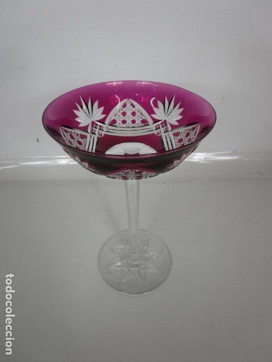 Antigüedades: Preciosa Pareja de Copas - Copa de Cristal Tallado - Bohemia - Foto 8 - 197510542