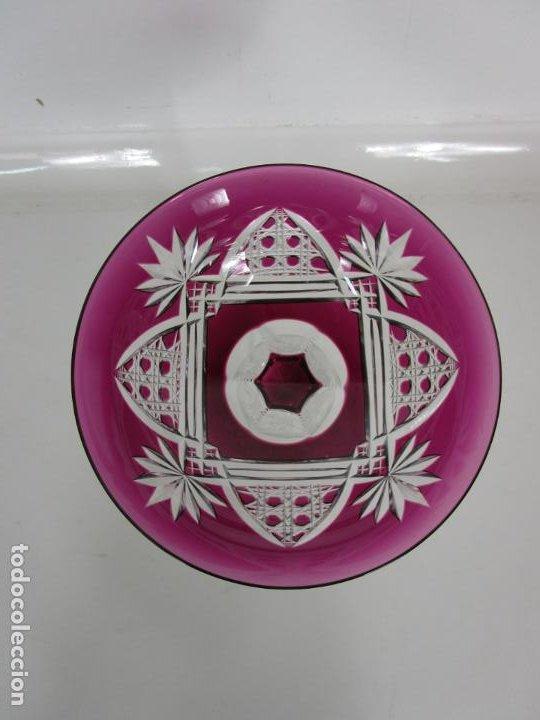 Antigüedades: Preciosa Pareja de Copas - Copa de Cristal Tallado - Bohemia - Foto 9 - 197510542