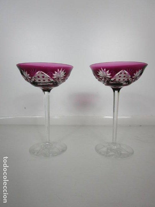Antigüedades: Preciosa Pareja de Copas - Copa de Cristal Tallado - Bohemia - Foto 11 - 197510542