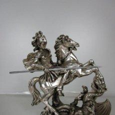 Antigüedades: ESCULTURA SANT JORDI, SAN JORGE PLATEADO - BAÑO DE PLATA - PEANA EN MÁRMOL . Lote 197524747