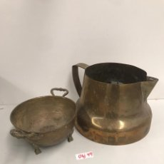 Antigüedades: ANTIGUA LECHERA Y CAZO SIGLO XIX. Lote 197536947