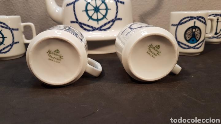 Antigüedades: JUEGO DE CAFE O TE CON TETERA Y 6 TAZAS DE PORCELANA HERRANDIZ DECORACION NAUTICA / BARCOS. - Foto 4 - 197552788