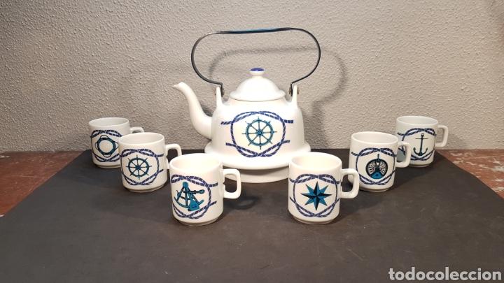 JUEGO DE CAFE O TE CON TETERA Y 6 TAZAS DE PORCELANA HERRANDIZ DECORACION NAUTICA / BARCOS. (Antigüedades - Porcelanas y Cerámicas - Otras)