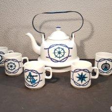 Antigüedades: JUEGO DE CAFE O TE CON TETERA Y 6 TAZAS DE PORCELANA HERRANDIZ DECORACION NAUTICA / BARCOS.. Lote 197552788