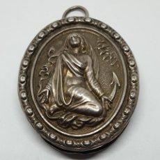 Antigüedades: PRECIOSO RELICARIO EN PLATA CON IMAGEN EN RELIEVE,S. XVIII-XIX. Lote 197589340