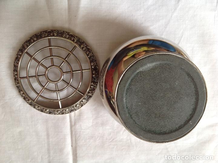 Antigüedades: Pot-pourrí de metal plateado - Foto 4 - 197593622