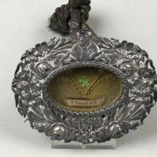 Antigüedades: PRECIOSO RELICARIO DEVOCIONARIO EN PLATA DE LEY SAN VICENT DE PAUL PATRON DE ALCOY SG XIX. Lote 197644666