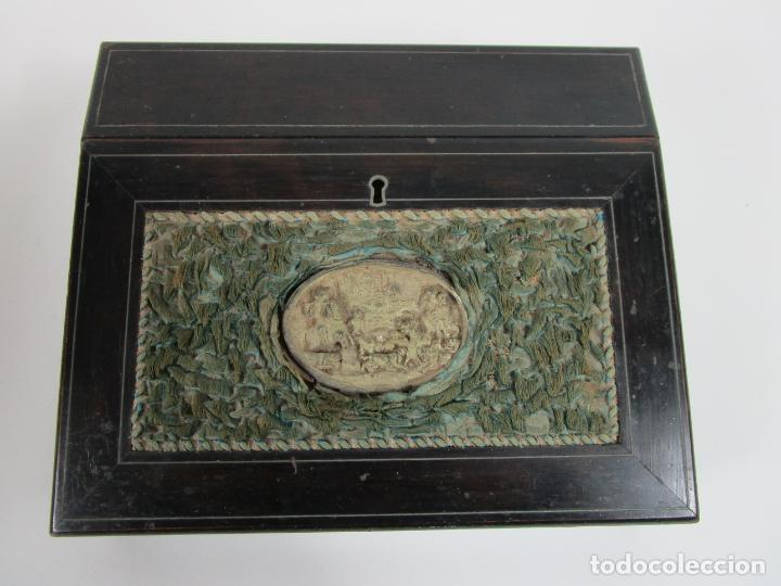 Antigüedades: Caja Escritorio - Madera de Jacarandá - Estuco Central - Tintero - S. XIX - Foto 3 - 197740108