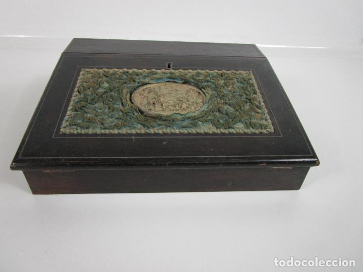 Antigüedades: Caja Escritorio - Madera de Jacarandá - Estuco Central - Tintero - S. XIX - Foto 5 - 197740108