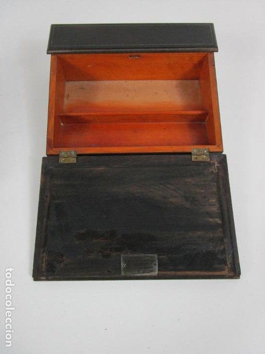 Antigüedades: Caja Escritorio - Madera de Jacarandá - Estuco Central - Tintero - S. XIX - Foto 6 - 197740108
