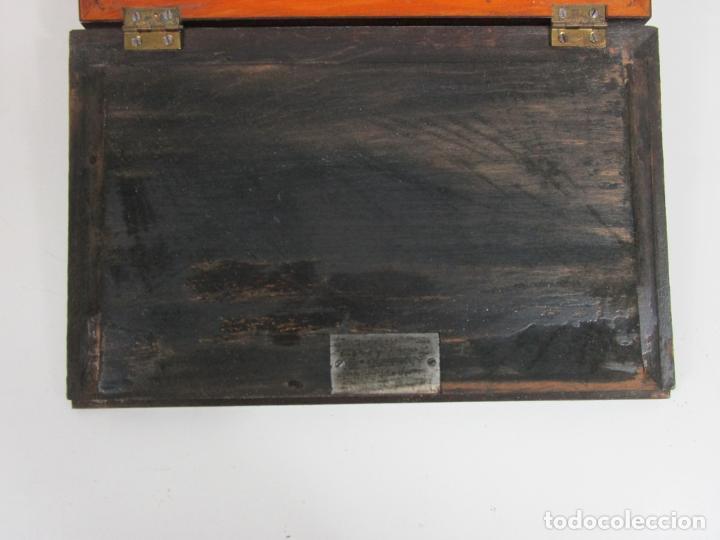 Antigüedades: Caja Escritorio - Madera de Jacarandá - Estuco Central - Tintero - S. XIX - Foto 7 - 197740108