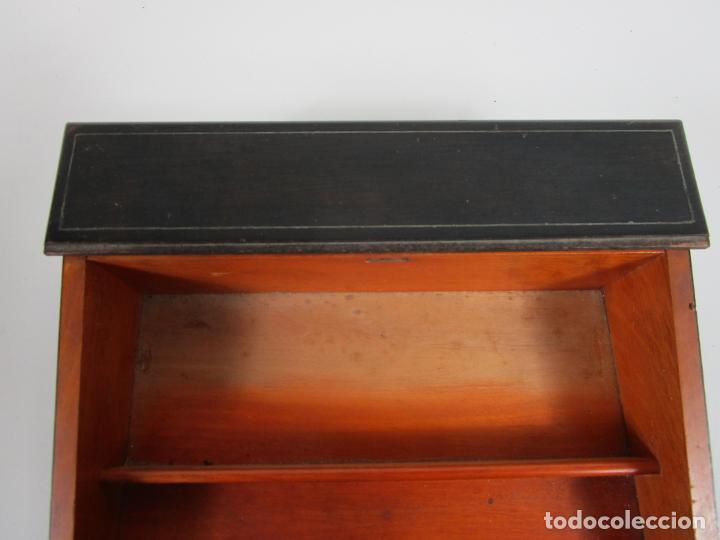 Antigüedades: Caja Escritorio - Madera de Jacarandá - Estuco Central - Tintero - S. XIX - Foto 9 - 197740108