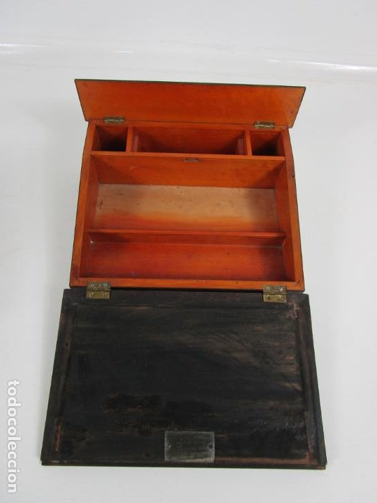 Antigüedades: Caja Escritorio - Madera de Jacarandá - Estuco Central - Tintero - S. XIX - Foto 11 - 197740108