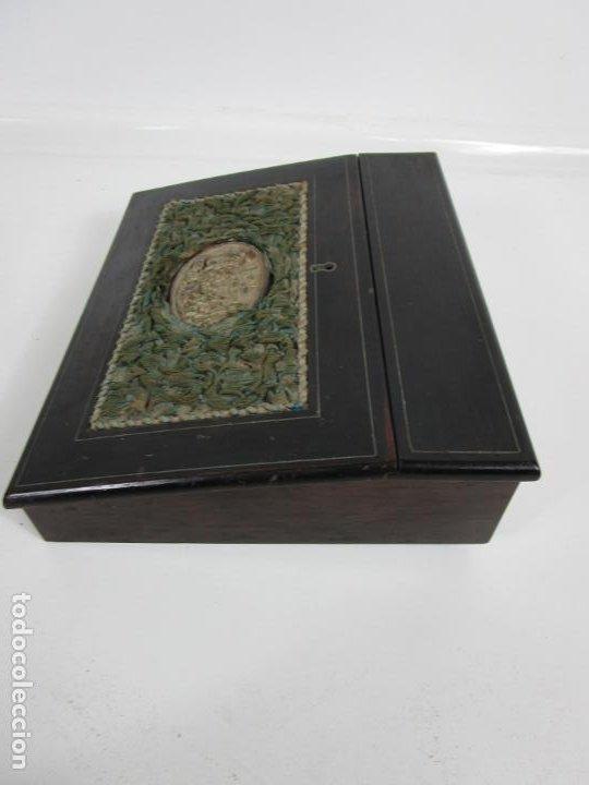 Antigüedades: Caja Escritorio - Madera de Jacarandá - Estuco Central - Tintero - S. XIX - Foto 15 - 197740108