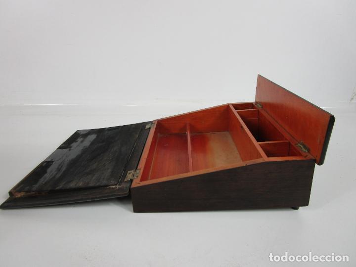 Antigüedades: Caja Escritorio - Madera de Jacarandá - Estuco Central - Tintero - S. XIX - Foto 16 - 197740108