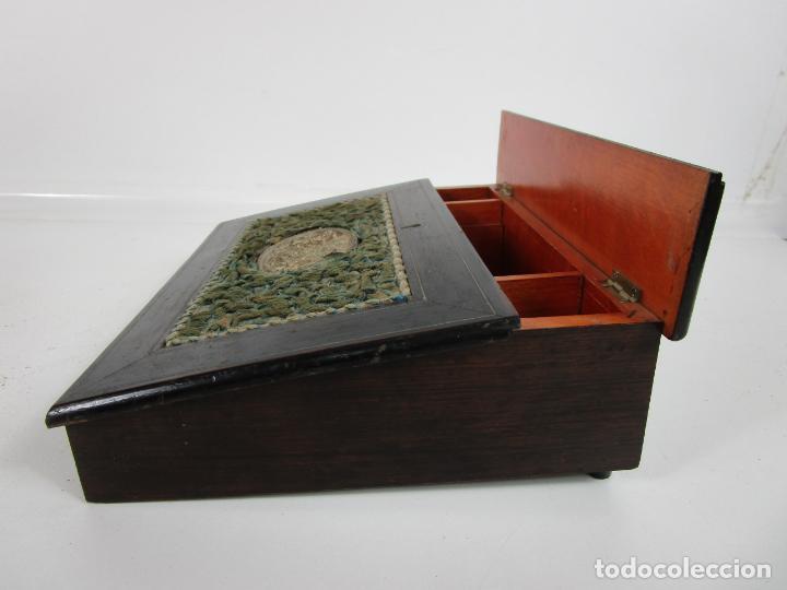 Antigüedades: Caja Escritorio - Madera de Jacarandá - Estuco Central - Tintero - S. XIX - Foto 17 - 197740108