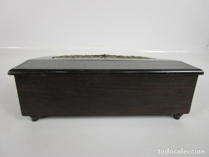 Antigüedades: Caja Escritorio - Madera de Jacarandá - Estuco Central - Tintero - S. XIX - Foto 18 - 197740108