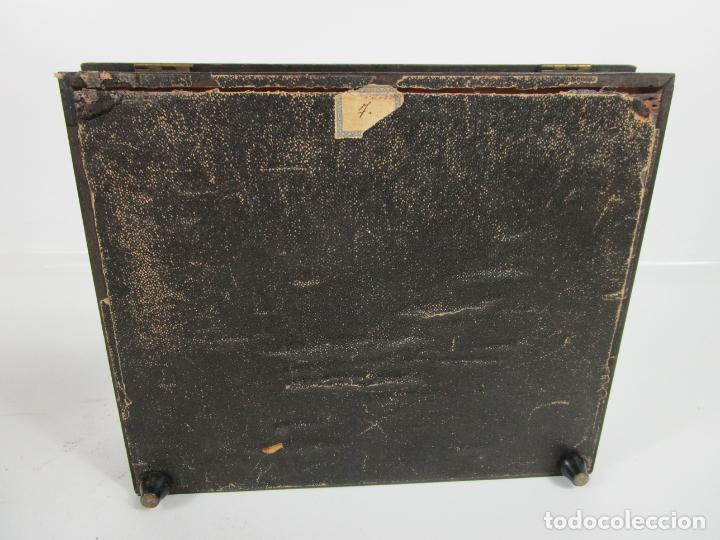 Antigüedades: Caja Escritorio - Madera de Jacarandá - Estuco Central - Tintero - S. XIX - Foto 19 - 197740108