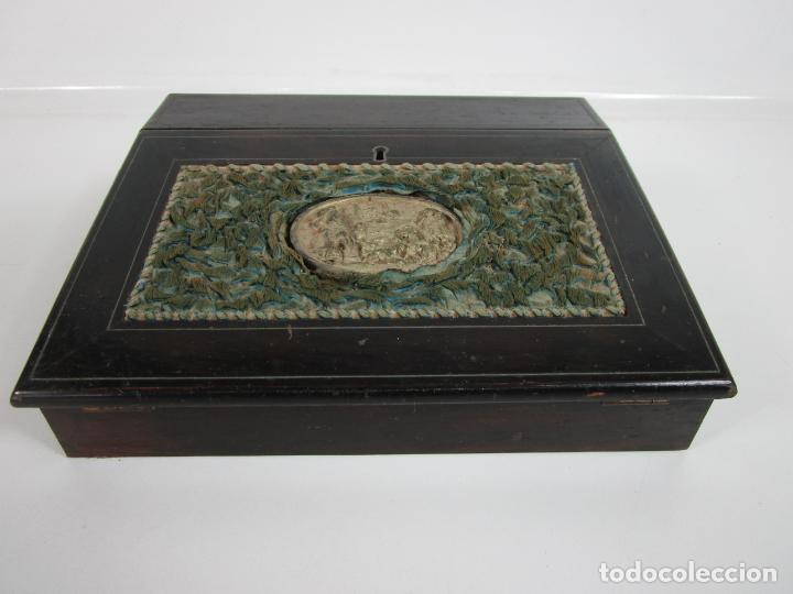 Antigüedades: Caja Escritorio - Madera de Jacarandá - Estuco Central - Tintero - S. XIX - Foto 21 - 197740108