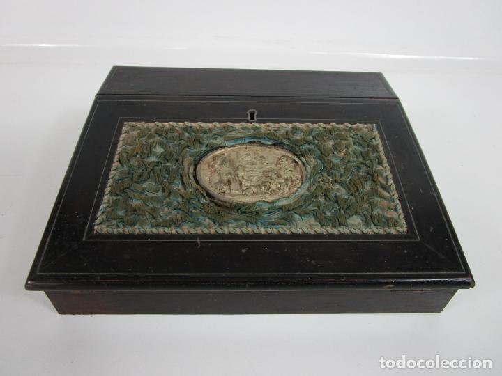 CAJA ESCRITORIO - MADERA DE JACARANDÁ - ESTUCO CENTRAL - TINTERO - S. XIX (Antigüedades - Muebles Antiguos - Escritorios Antiguos)