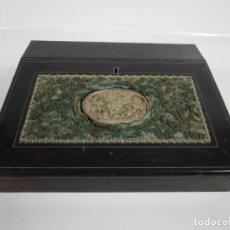 Antigüedades: CAJA ESCRITORIO - MADERA DE JACARANDÁ - ESTUCO CENTRAL - TINTERO - S. XIX. Lote 197740108