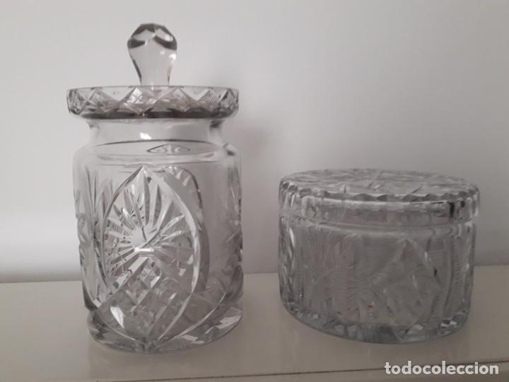 Antigüedades: Juego Bombonera- Galletero en vidrio - Foto 2 - 197764801