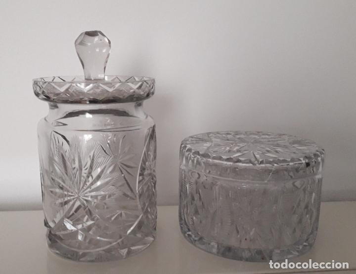 JUEGO BOMBONERA- GALLETERO EN VIDRIO (Antigüedades - Cristal y Vidrio - Otros)