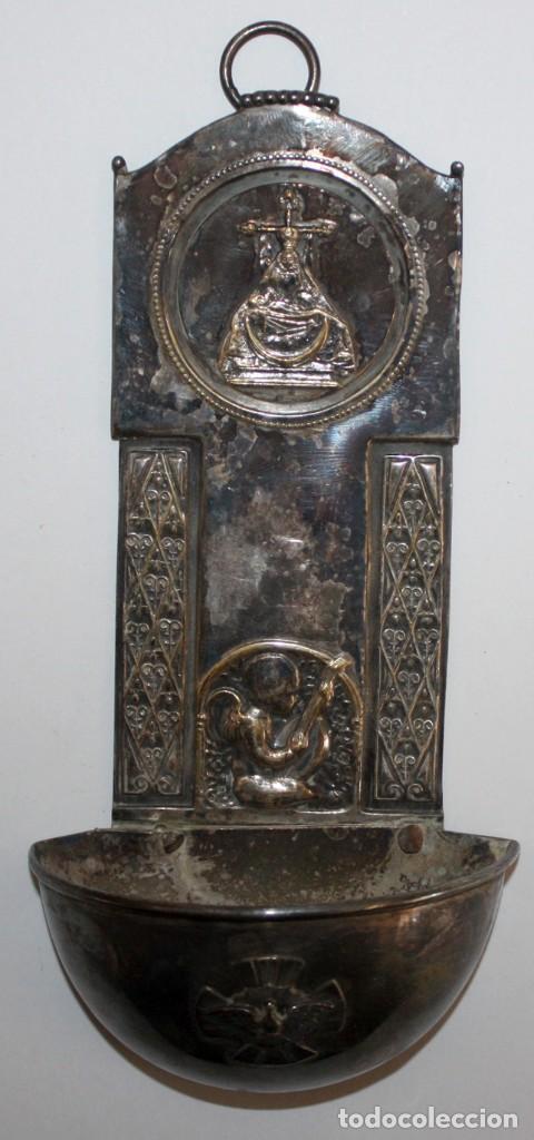 BENDITERA DE FINALES DEL SIGLO XIX EN METAL PLATEADO (Antigüedades - Religiosas - Benditeras)