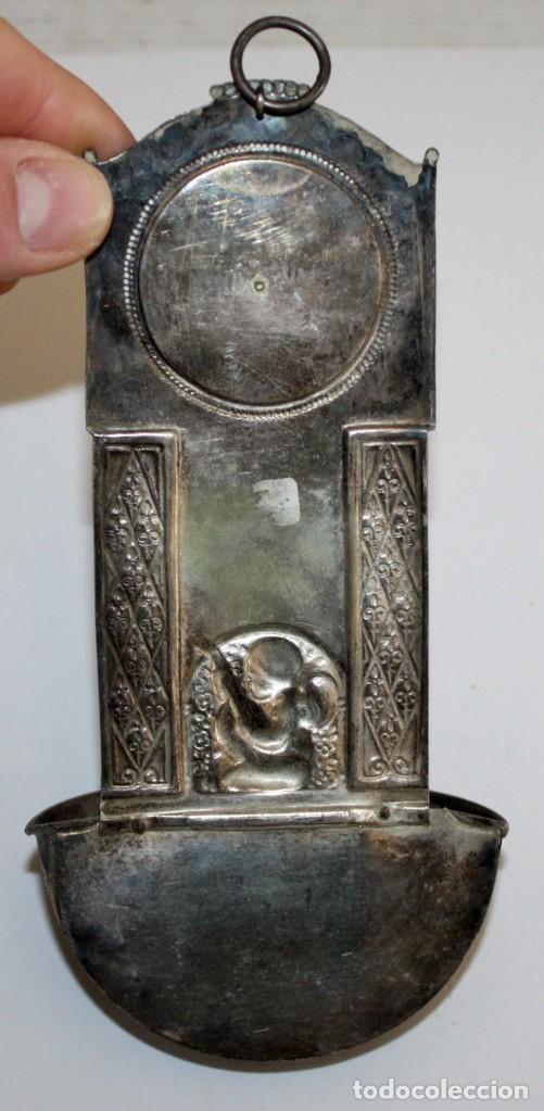 Antigüedades: BENDITERA DE FINALES DEL SIGLO XIX EN METAL PLATEADO - Foto 7 - 197786126