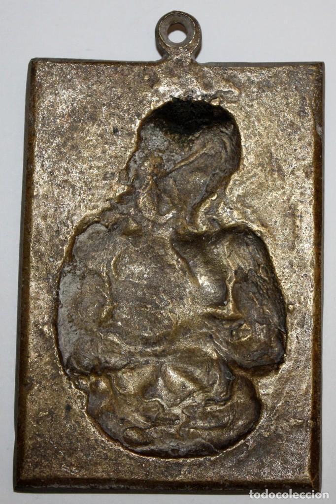 Antigüedades: PORTAPAZ O PLACA DEVOCIONARIA DEL ECCE HOMO EN BRONCE. PRINCIPIOS SIGLO XIX - Foto 4 - 197788081