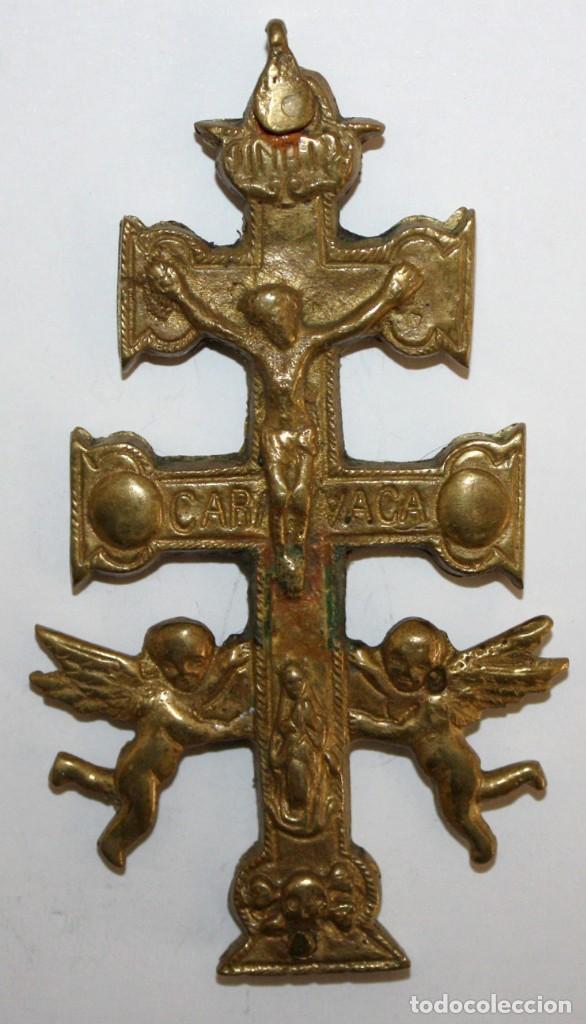 IMPORTANTE CRUZ DE CARAVACA EN BRONCE. SIGLO XVIII (Antigüedades - Religiosas - Cruces Antiguas)