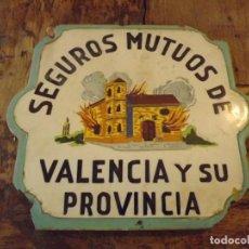 Oggetti Antichi: AZULEJO DE FACHADA SEGUROS MUTUOS VALENCIA Y SU PROVINCIA. Lote 197804515