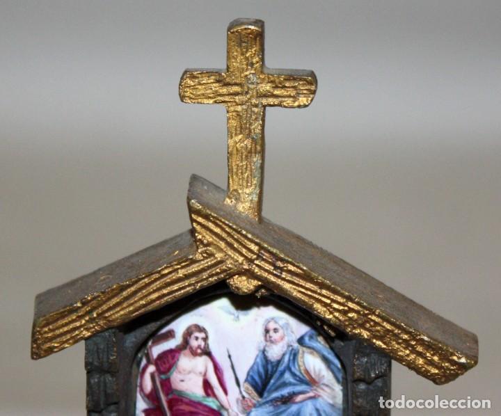 Antigüedades: ORATORIO DE SOBREMESA O SIMILAR EN BRONCE Y ESMALTE PINTADO RELIGIOSO - Foto 3 - 197810196