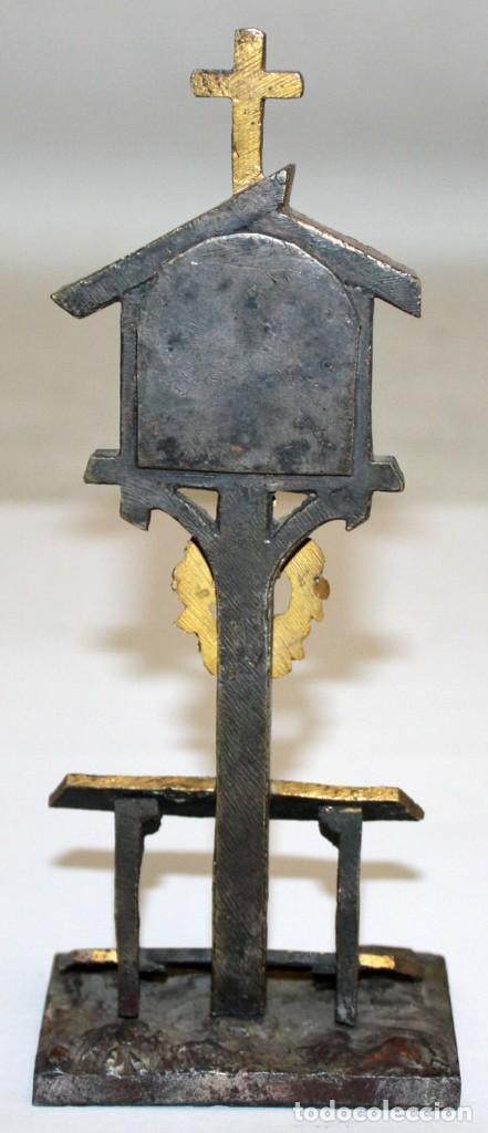 Antigüedades: ORATORIO DE SOBREMESA O SIMILAR EN BRONCE Y ESMALTE PINTADO RELIGIOSO - Foto 7 - 197810196