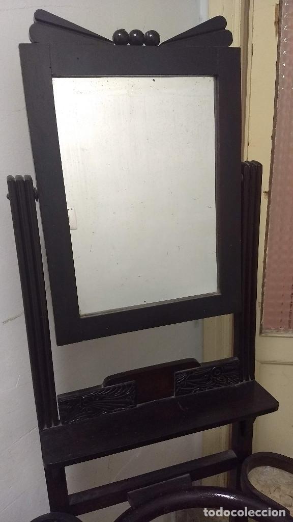 Antigüedades: Antiguo mueble lavamanos. Con Jofaina, aguamanil y espejo original. Principios del Siglo XX - Foto 6 - 197844547
