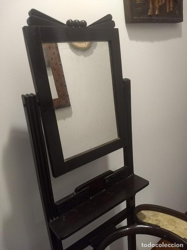 Antigüedades: Antiguo mueble lavamanos. Con Jofaina, aguamanil y espejo original. Principios del Siglo XX - Foto 7 - 197844547