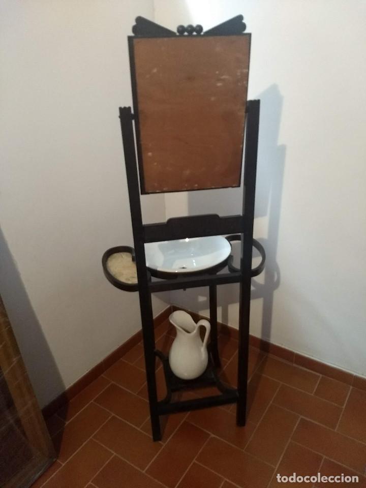 Antigüedades: Antiguo mueble lavamanos. Con Jofaina, aguamanil y espejo original. Principios del Siglo XX - Foto 15 - 197844547