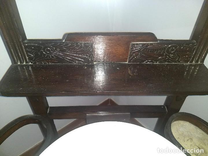 Antigüedades: Antiguo mueble lavamanos. Con Jofaina, aguamanil y espejo original. Principios del Siglo XX - Foto 37 - 197844547