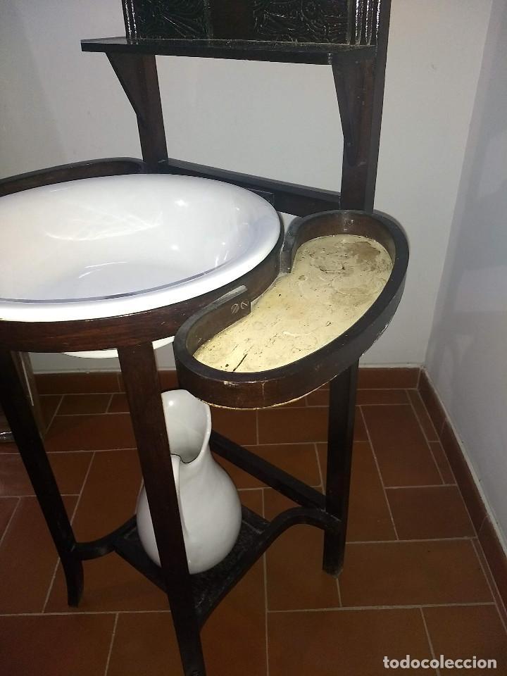 Antigüedades: Antiguo mueble lavamanos. Con Jofaina, aguamanil y espejo original. Principios del Siglo XX - Foto 38 - 197844547