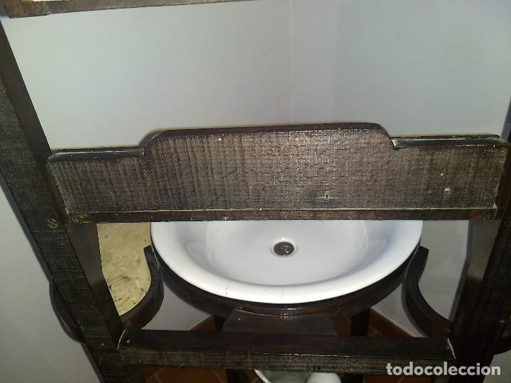 Antigüedades: Antiguo mueble lavamanos. Con Jofaina, aguamanil y espejo original. Principios del Siglo XX - Foto 41 - 197844547