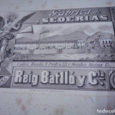 Antigüedades: PRECIOSA CAJA CON 4 PAÑUELOS DE SEDA. SEDERIAS REIG BATLLÓ Y CIA LITOGRAFÍA M PUJADAS BARCELONA.1890. Lote 197858667