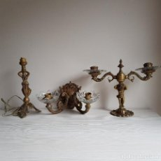 Antigüedades: CANDELABROS DE BRONCE. Lote 197914368