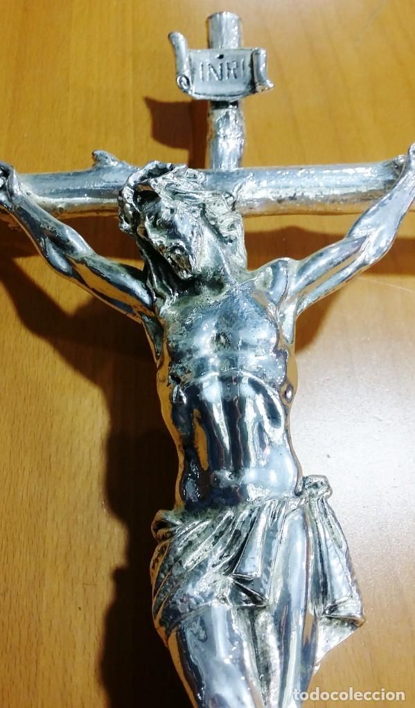Antigüedades: Crucifijo - Cristo bañado en plata - Envío gratis península - Foto 2 - 197917003