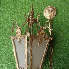 Antigüedades: PRECIOSO FAROL DE TECHO EN BRONCE Y CRISTAL.. Lote 197920176