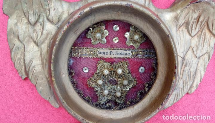 Antigüedades: PAREJA RELICARIOS SIGLO XVIII, CON RELIQUIAS DE SAN FRANCISCO SOLANO. DIM.- 25X18 CMS (BUEN TAMAÑO) - Foto 6 - 197942671