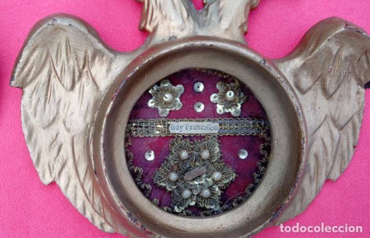 Antigüedades: PAREJA RELICARIOS SIGLO XVIII, CON RELIQUIAS DE SAN FRANCISCO SOLANO. DIM.- 25X18 CMS (BUEN TAMAÑO) - Foto 11 - 197942671