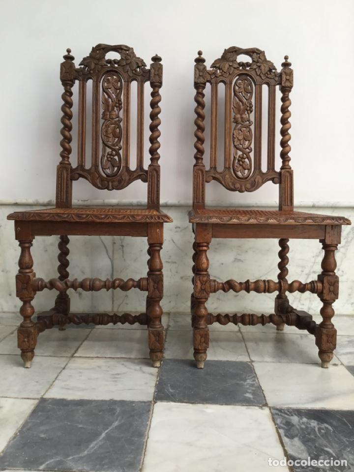 Antigüedades: Pareja de sillas estilo Luis XIII - Foto 2 - 197989878