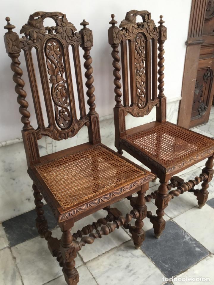 Antigüedades: Pareja de sillas estilo Luis XIII - Foto 3 - 197989878
